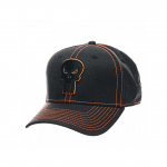 Punisher Neon Orange Logo Black Flex Cap